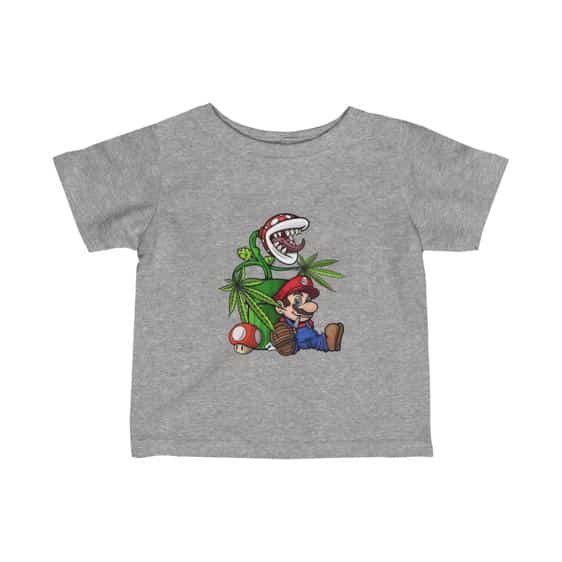 Stoned Mario With Piranha Plant 420 Marijuana Baby Tees