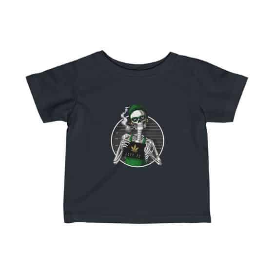 Stoner Skeleton Mugshot Epic 420 Marijuana Baby T-shirt