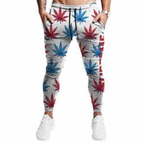 Supreme Themed Marijuana Leaves Pattern Stylish Jogger Pants
