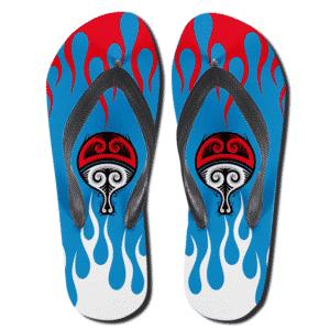 Tribal Art Uchiha Clan Paper Fan Symbol Flip Flop Slippers