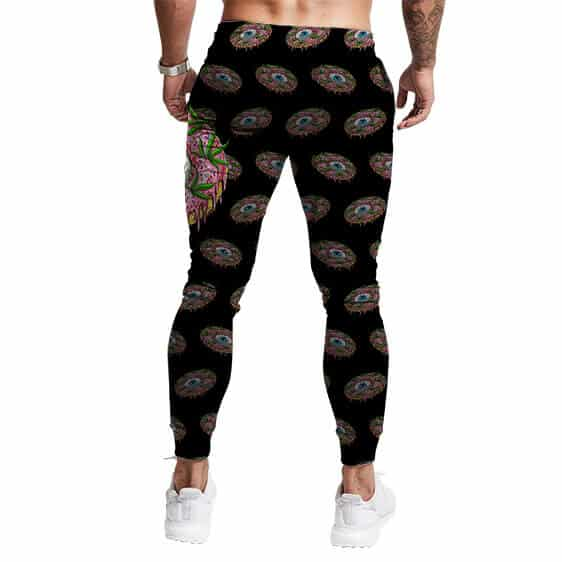 Trippy Eye Donut Weed Overall Print Stylish Jogger Pants