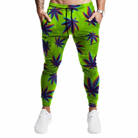 Trippy Nature 3D Weed Pattern Neon Green 420 Jogger Pants