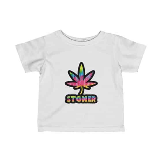Trippy Psychedelic Stoner Marijuana Leaf Weed Infant Tees