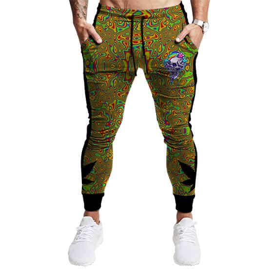 Trippy Skull Psychedelic Pattern Dope 420 Weed Sweatpants