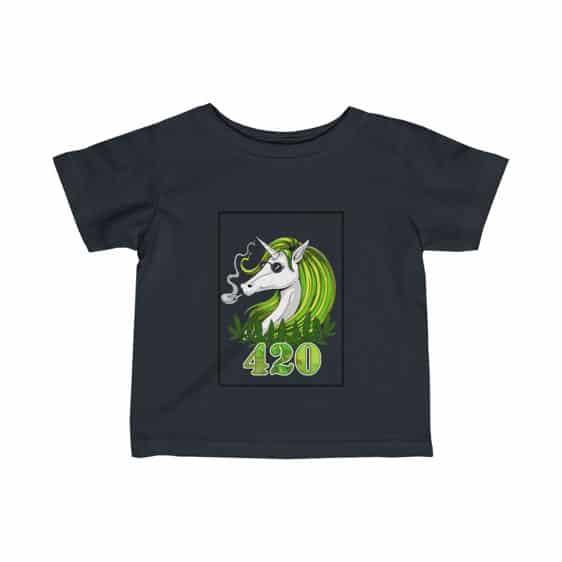 Trippy Unicorn Smoking Cannabis Blunt Dope Infant Tees