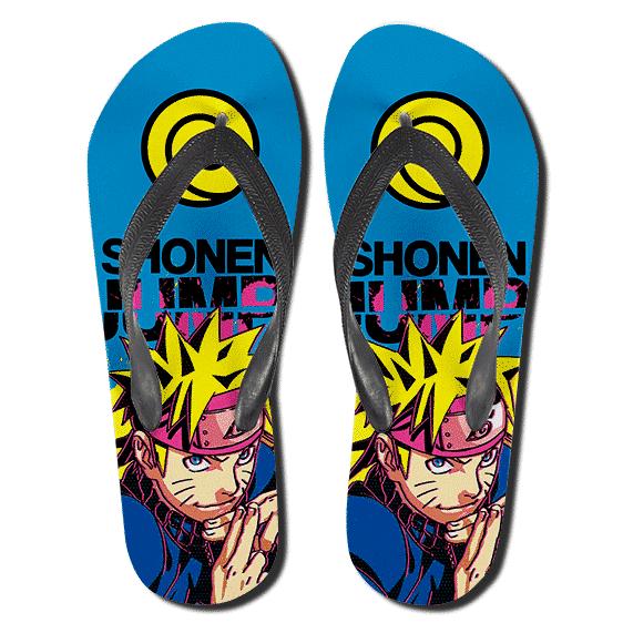 Vibrant Naruto Uzumaki Shonen Jump Aqua Blue Slippers