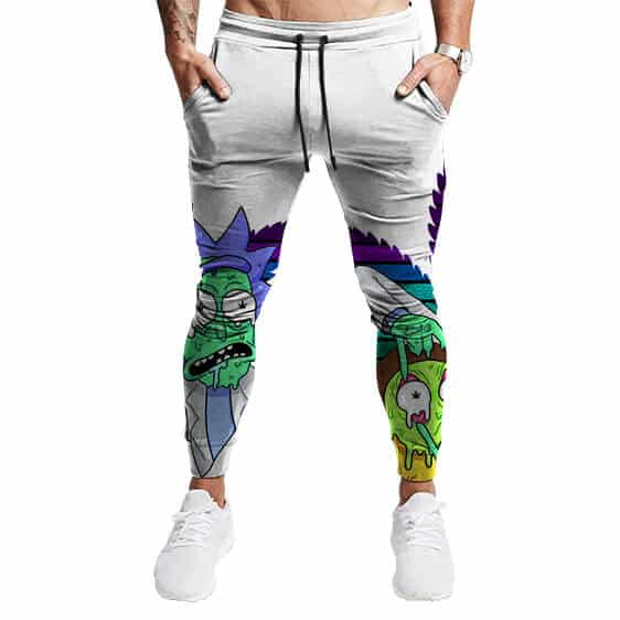 Weed Adventures of Rick and Morty Melting Art Jogger Pants