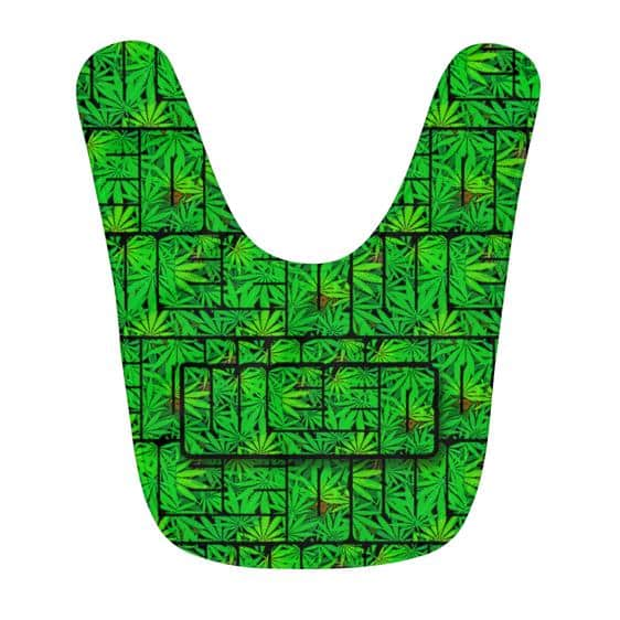 420 Weed Trippy Typograph Logo Awesome Green Baby Bib