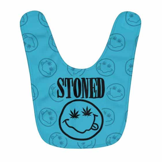 Adorable Stoned Out Smiley Weed Leaf Caribbean Blue Baby Bib