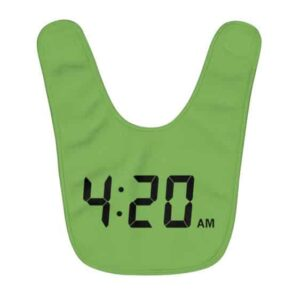 Amazing 420 Digital Clock Weed Time Green Baby Apron