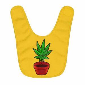 Amazing Marijuana Plant Minimalistic Yellow Baby Apron