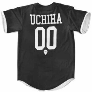 Team Uchiha Minimalist Crest Design Black Baseball Uniform