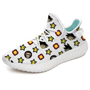 Classic Bape Goku Head Pattern White Yeezy Sneakers