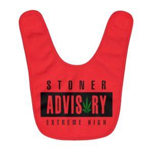 Cool Stoner Advisory Extremely High Logo Red Baby Apron