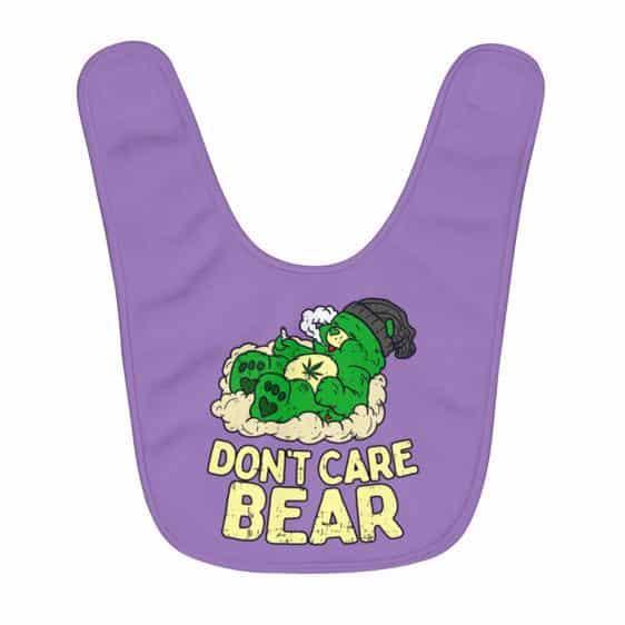 Don't Care Bear Parody Faded Green Bear Dope Baby Bib