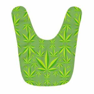 Dope Marijuana Leaf Minimalistic Green Pattern Baby Bib