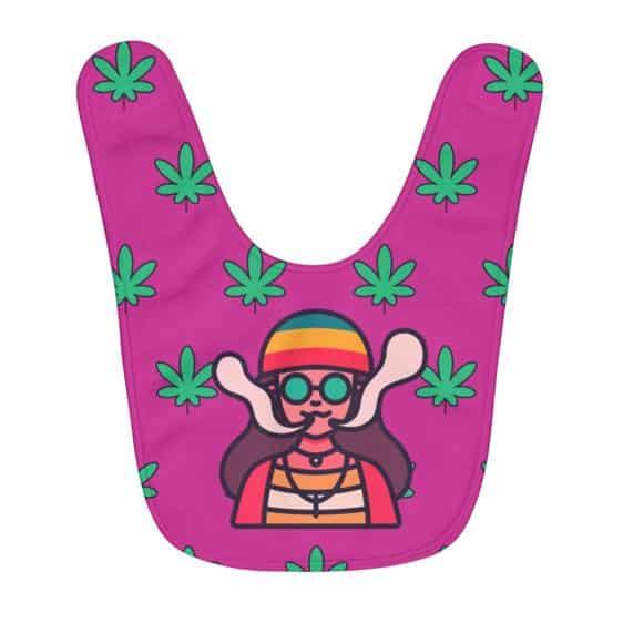 Hippie Lady Smoking Marijuana Leaf Raspberry Pink Baby Bib
