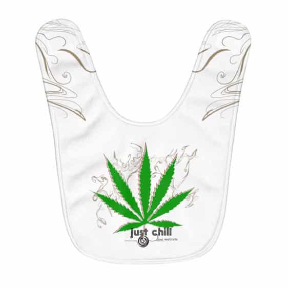 Just Chill With Marijuana Minimalistic Smoke Art Baby Bib