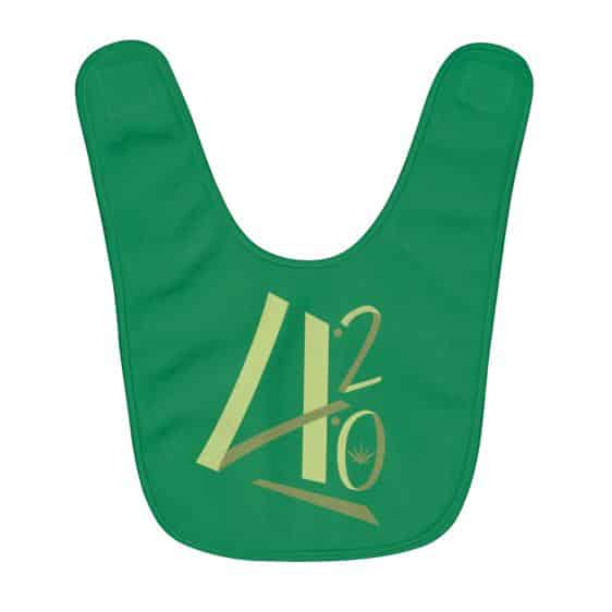 Minimalistic 420 Weed Typograph Amazing Green Baby Bib