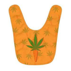 Minimalistic Carrot And Weed Leaf Pattern Orange Baby Bib