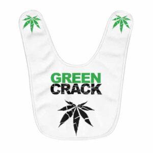 The Green Crack Cannabis Leaf Logo White Baby Bib