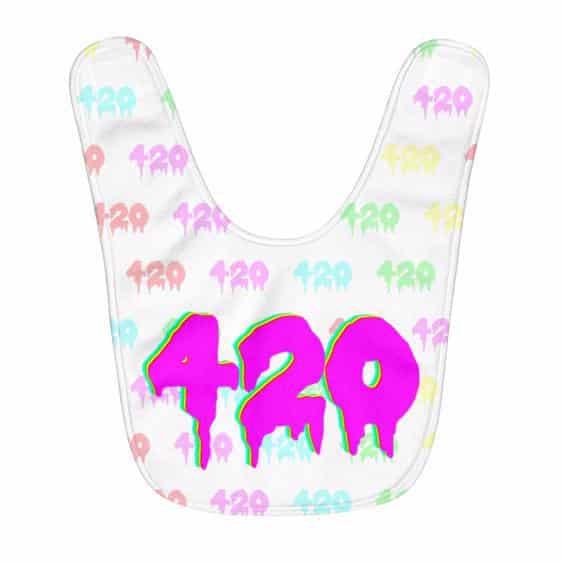 Trippy Drippy Art 420 Weed Logo Vibrant Colors Baby Bib