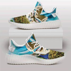 Vegeta SSJ Blue Holding Nug Stoner Weed Yeezy Sneakers