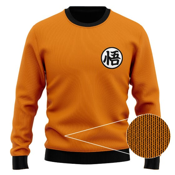 Dragon Ball Z Son Goku Kanji Logo Orange Wool Sweater