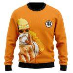 DBZ Master Roshi Punch Turtle Kanji Orange Wool Sweater