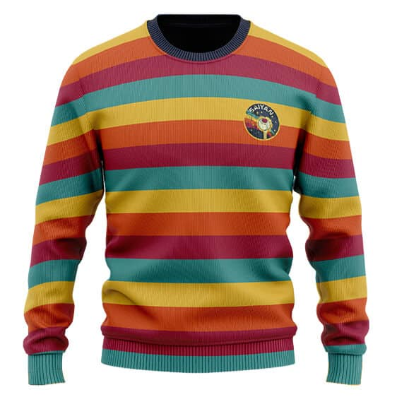 DBZ Adorable Saiyan Ship Logo Retro Rainbow Wool Sweater