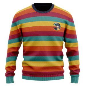 DBZ Cute Frieza Ship Logo Retro Rainbow Wool Sweatshirt