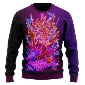 DBZ Super Saiyan 2 Son Goku Neon Lights Wool Sweater