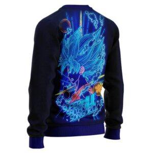 DBZ Super Saiyan Blue Goku Neon Lights Wool Sweater