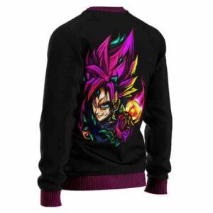 DBZ Pink Rose Goku Black Logo Artwork Wool Sweater