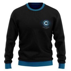 Dragon Ball Z Capsule Corp Logo Black Wool Sweatshirt
