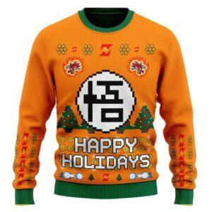 DBZ Goku Kanji Logo Happy Holidays Ugly Christmas Sweater