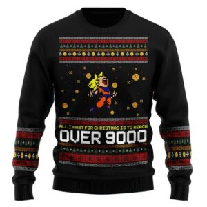 DBZ All I Want Is To Reach Over 9000 Ugly Christmas Sweater