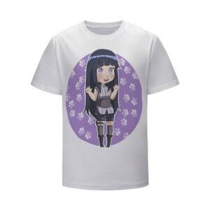 Adorable Hinata Hyuga Purple Floral Design Kids Shirt