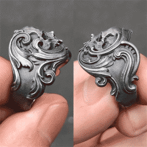 Amazing Skull Head Crest Stainless Steel Punk Ring