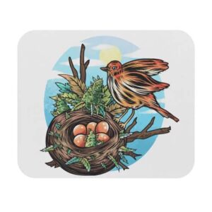 Awesome Bird Nest Marijuana Artwork Non-Slip Mouse Pad