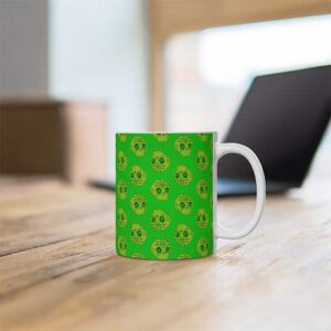 Badass Golden Skull Weed Pattern Artwork Ceramic Coffee Mug