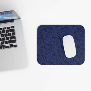 Cannabis Weed Leaves Navy Blue Pattern Non-Slip Mouse Pad