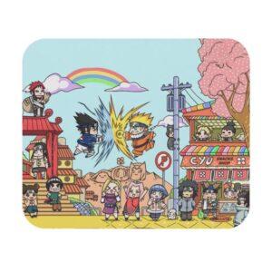 Chibi Sasuke Vs Naruto Konoha Village Art Mouse Pad