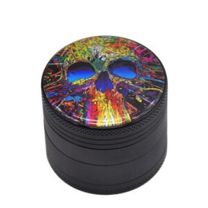 Colorful Abstract Skull Painting Art Weed Herb Grinder