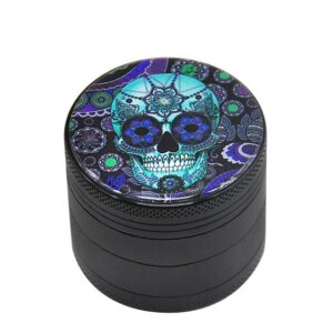 Cool Blue Decorative Sugar Skull Flower Pattern Weed Grinder