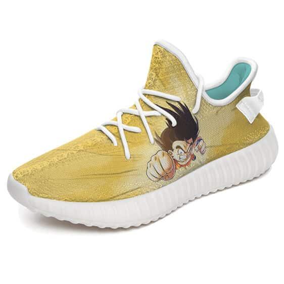 Dragon Ball Kid Goku Fight Stance Yellow Yeezy Sneakers
