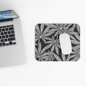Elegant Mary Jane Leaves Black And White Weed Mouse Pad