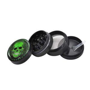 Green Sugar Skull Design Art Stylish Weed Kush Grinder