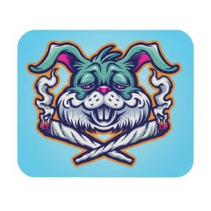 High Stoned Bunny Rabbit Psychedelic Gaming Mouse Pad