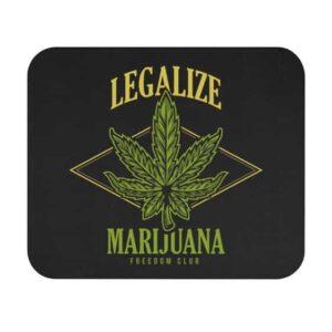 Legalize Marijuana Weed Logo Black Non-Slip Mouse Pad